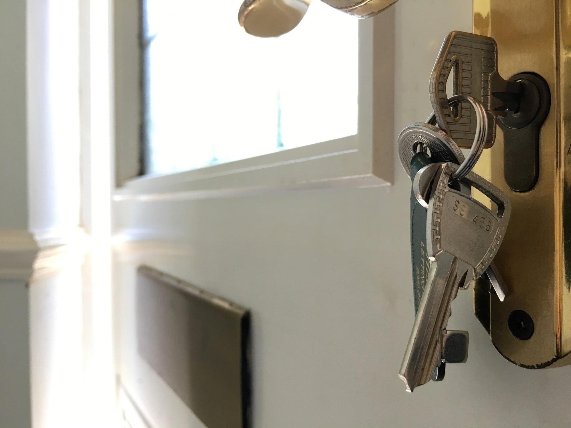 Broken keys in the lock on inside of front door