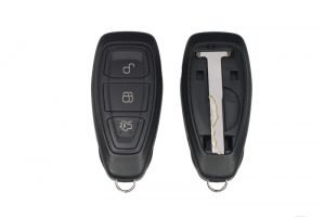 Keyless car key fob showing front and back with panel removed to show emergency key